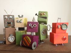 Family Craft Night Robot Family from scrap wood and random pieces we found around the house. left to right JackJack (6), Clarkie Malarkie (1.5), Roxydoodle (8), DooDad, MomZito