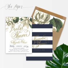 Magnolia Bridal Shower Invitation - Magnolia Flower with Navy & White Stripes, Gold Calligraphy. Classic Bridal Party Invite