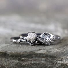 Twig & Leaf Raw Diamond Engagement Ring Set  Nature by ASecondTime