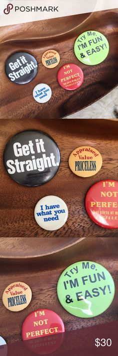 """Mixed Eras Cheeky Vintage Pinbacks Includes...  → """"Get it Straight"""" circa 1970s → """"I have what you need"""" circa 1970s → """"Appraised Value PRICELESS"""" dated 1994 → """"I'm not perfect but parts of me are excellent"""" circa 1970s → """"Try Me, I'm Fun & Easy!"""" circa 1980s  *Listed as Urban for search visibility.  ⁂ Great bundle item! Two items = 20% off ☒ I do not model or trade, sorry! ❁ Check out my closet for more vintage! Urban Outfitters Accessories"""
