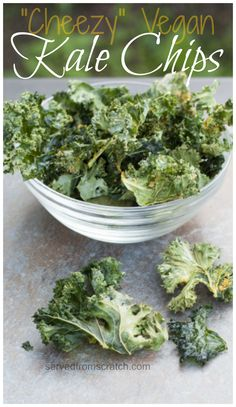 """""""Cheezy"""" Salty, Crunchy, Vegan friendly Kale Chips. The perfect deceptionally healthy snack!"""