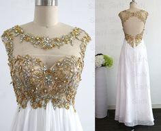 White Long Prom Dresses Custom White Lace Straps by SarNDresses