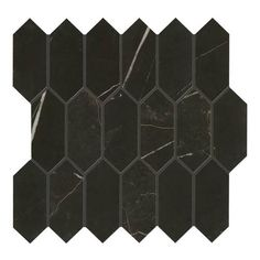 Daltile Nero Marble Attache - x Linear Hexagon Mosaic Wall Tile - Unpolished Marble Visual Mosaic Wall Tiles, Hexagon Tiles, Hexagon Pattern, Black Marble Tile, Dal Tile, Chandelier Art, Thing 1, Pallet Painting, Stone Tiles
