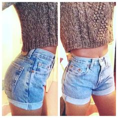 Original Blue High Waisted Shorts levis wrangler gap by modayarte . I love the pairing of crop sweater and high waisted shorts Daily Fashion, Look Fashion, Fashion Beauty, Pastel Outfit, Looks Chic, Looks Style, Levi Shorts, High Waisted Shorts, Blue Shorts