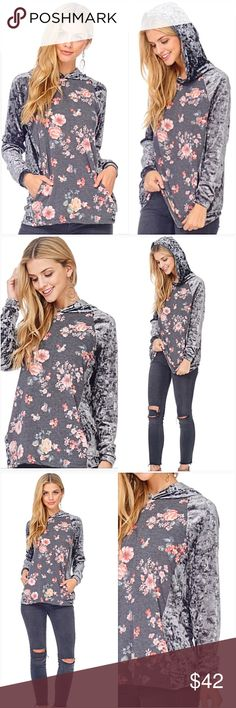 """Dreamy Silver Crushed Velvet Floral Hoodie SML Dreamy Crushed Velvet Floral Hoodie!  Charcoal gray floral pattern front & hood lining with pockets. Silver gray crushed velvet back, sleeves & hood. Soooo soft & gorgeous!  Made in USA 95% Polyester- 5% Spandex (Stretchy)  Small 2/4/6 Bust 32-34-36 Length 26"""" Medium 6/8/10 Bust 36-38-40 Length 26.5"""" Large 10/12/14 Bust 40-42 Length 27"""" Tops"""