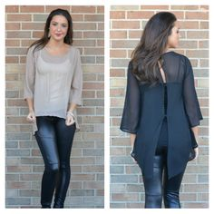 Sheer and Stud Details, 2 Colors, $27.00
