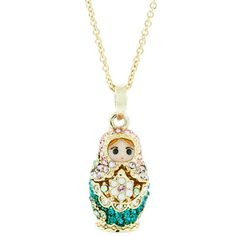 A beautiful Andrew Hamilton Crawford Jewelry Baby Mamuska Necklace Gold Pink Necklace. Includes a cute, baby, russian, gold doll with pink crystals. The doll also opens!.This Andrew Hamilton Crawford necklace is from the Russian Stacking Dolls collection.