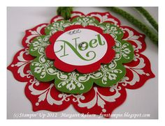 handmade Christmas tag with layers  of red, white and green ... stunning!!   ...luv the look of the white embossing on the red and green ... Daydream Medallions and Floral Frames ... Stampin' Up! handmad card, christma tag, frame tag, daydream medallion, floral frame, frames, ornament, fun stampin, margaret