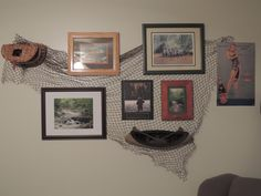 Fly Fishing theme wall decor.  Using fishing net from Joe's Army Navy Store in Waterford, MI.  www.joesarmynavyonline.com