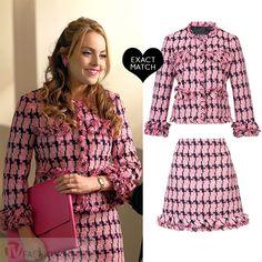 Fallon Carrington in pink tweed blazer and matching pink skirt worn on Dynasty season 1
