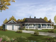 Caldean Country Ranch Home Country Ranch With Spacious Wrap-Around Porch from houseplansandmore.com