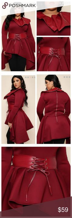 """Statement Peblum Coat (1X, 2X, 3X) Sleek and Fierce all Season Plus Peblum Coat. Made with stretch Fabric and Features Faux Leather accents. Looks great with Skinny Jeans or Leggings.  - Model is 5'8"""" / Bust: 44"""" / Waist: 34"""" / Hip: 45"""" and wearing size 1x Jackets & Coats"""