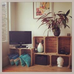 10 x Inspiratie voor fruitkisten - Roest Wonen Bookcase, New Homes, Diy Projects, Shelves, Interior, Diy Ideas, Room, House, App
