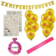 Bachelorette Party Decorations - Bridal Shower Kit - Same Pen-is Forev Bachelorette Sash, Bachelorette Party Decorations, Shower Kits, Latex Balloons, Pink And Gold, Party Supplies, Hot Pink, Bridal Shower, How To Memorize Things