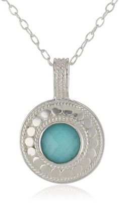 Anna Beck Designs %22Gili%22 Sterling Silver Wire Rimmed Turquoise Disk Pendant Necklace%2C 18%22