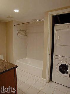 bathroom remodel with stackable washer dryer | Boston Lofts by LoftsBoston.com, Inc. >> Boston Residential Loft Sale ...