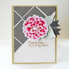 Dahlia Thank You Card by Danielle Flanders for Papertrey Ink (July 2013)