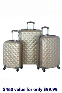 bd6b72c6e53d Olympia Yellowstone 3-Piece Hardcase Luggage Set In Gold - Beyond the Rack  Travel Luggage