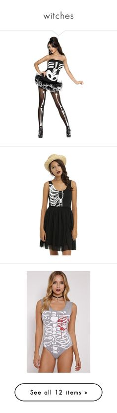 """witches"" by fionaellis2609 ❤ liked on Polyvore featuring costumes, white costume, skeleton costume, funny costumes, skeleton halloween costume, funny halloween costumes, dresses, gathered dress, iron fist dress and shirred dress"