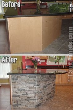 Need to keep this concept in mind when redoing the kitchen cabinets... Not necessarily the same stone, but great way to cover up the ugliness of the island cabinet backs.