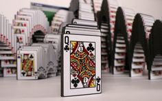 """Designers Lars Marcus and Theos of Skrekkøgle created this 5 foot wide sculpture titled """"Solitare Win"""" out of over 1000 cards printed on black foam board."""