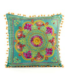 Another great find on #zulily! Karma Living Teal Botanical Square Pillow by Karma Living #zulilyfinds