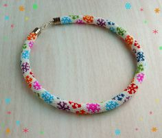 Bead Crochet Necklace Snowflakes Bead crochet rope by LGreenBeads, $47.00