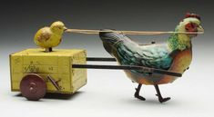 German Tin Litho Wind-Up Rooster & Chick Toy.