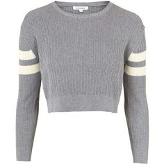 TOPSHOP **Knitted Cropped Jumper by Glamorous (160 ILS) ❤ liked on Polyvore featuring tops, sweaters, shirts, grey, grey jumper, cropped sweater, topshop jumper, grey shirt and sleeve crop top