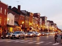 """Row houses converted into businesses along """"M"""" Street - in Georgetown, Washington DC"""