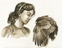 Harris Hawk and Girl by Brenda Lyons - Brenda Lyons Illustration