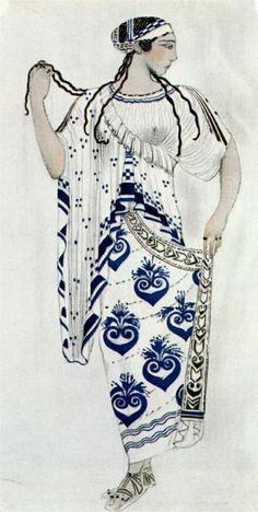 "Leon Bakst (Jewish-Russian: 1866-1924) - ""Helene de Sparte"" - costume for Ida Rubinstein as Helene"