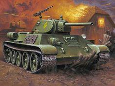 Art, drawing, t-34-76, thirty-four, soviet, medium, tank battle, ww2.