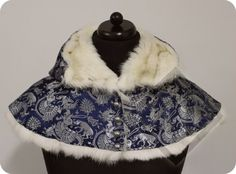 Woman's Brocade Buttoned Hood Lined with Rabbit by LadyMalinaCom