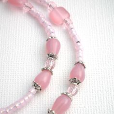 Pink Eyeglass Chain -Handmade ID Badge Lanyards, Badge Reels, Eyeglass Chains | Plum Beadacious