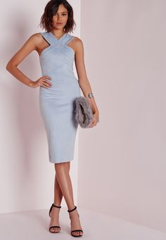 Missguided - Robe midi en suédine bleu clair coutures apparentes