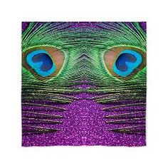 Glittery Purple Peacock Curtains Curtains.  Fun peacock bird feather curtains for a kitchen, living room or bedroom.  The purple background makes the green and the blue in the feather vibrant.