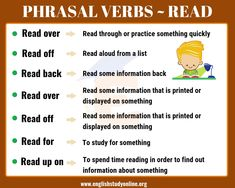7 Important Phrasal Verbs with READ: Read over, Read off, Read back. Learn English For Free, Improve Your English, Learn English Words, English Phrases, English Reading, English Study, English Class, Back Read