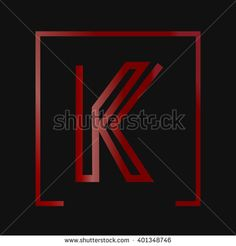 A letter logo with red square frame  - stock vector