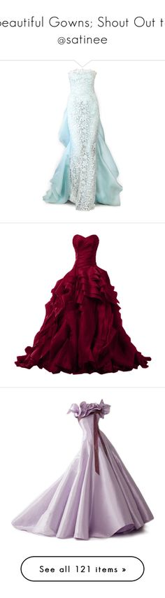 """""""Beautiful Gowns; Shout Out to @satinee"""" by ghgh2894 ❤ liked on Polyvore featuring dresses, gowns, long dresses, vestidos, oscar de la renta evening gowns, brides dresses, bridal evening gowns, oscar de la renta gown, bride gowns and burgundy long dress"""