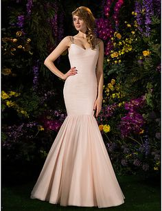 Lanting Sweep/Brush Train Tulle Bridesmaid Dress - Pearl Pink Plus Sizes / Petite Fit & Flare Spaghetti Straps 2016 - $170.99