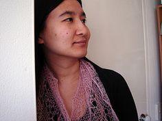 Summer travelling vines scarf in Anny Blatt fine kid mohair.