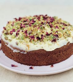 Try this rich celebratory Pistachio and Almond Cake with Saffron Icing, courtesy of Meera Sodha Sweet Recipes, Cake Recipes, Dessert Recipes, Desserts, Saffron Cake, Surprise Recipe, Pistachio Dessert, Rich Cake, Almond Cakes