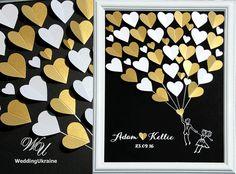 Hochzeit Gast Buch Alternative auf schwarzem Hintergrund mit Gold und weiß Herz für Gäste wünscht. Personalisiert mit Ihrem Namen und Datum Hochzeit, bietet eine einzigartige Weise des Ausdrückens Ihrer Liebe an Ihrem besonderen Tag. Weiß, Lavendel und lila Hochzeit Baum.  ------------- TO ORDER -------------- Bitte 1. Wählen Sie aus der Dropdown-Liste eine Größe und Anzahl der Herzen. 2 Farben von Herzen aus der Dropdown-Liste auswählen. 3. in den Verkäufer-Feld beachten Sie bitte…