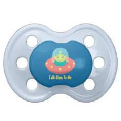 Cute Alien in Spaceship, Outer Space Pacifier. #funnybabypacifiers
