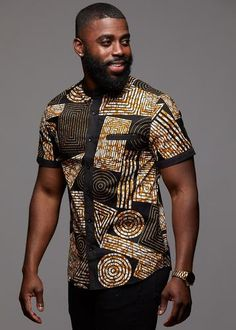 Tops - Olu Short Sleeve Mandarin Button-Up African Print Shirt (Black Brown Geometric) African Shirts For Men, African Dresses Men, African Attire For Men, African Clothing For Men, African Wear, African Style, African Clothes, Traditional African Clothing, Nigerian Men Fashion