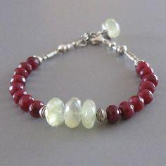 Ruby Prehnite Gemstone Sterling Silver Bead Bracelet: