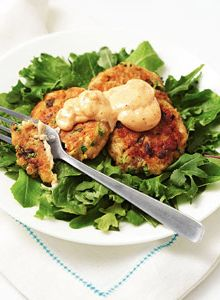 Salmon Cakes with Spicy Dressing from Fitness Magazine! Delish!