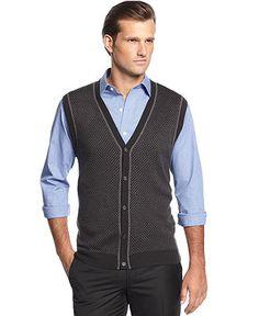 Geoffrey Beene Sweater, Button-Front V-Neck Birdseye Sweater Vest - Sweaters - Men - Macy's