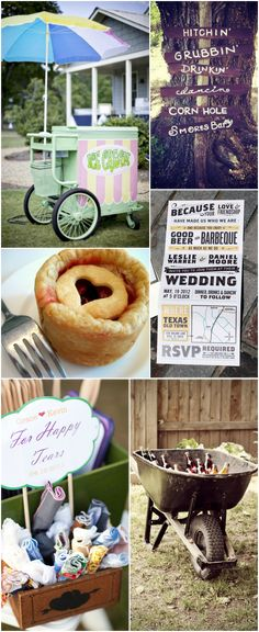 Backyard Barbeque BBQ Wedding Inspiration Board. The invites are adorable, So are the signs. Simple and easy.